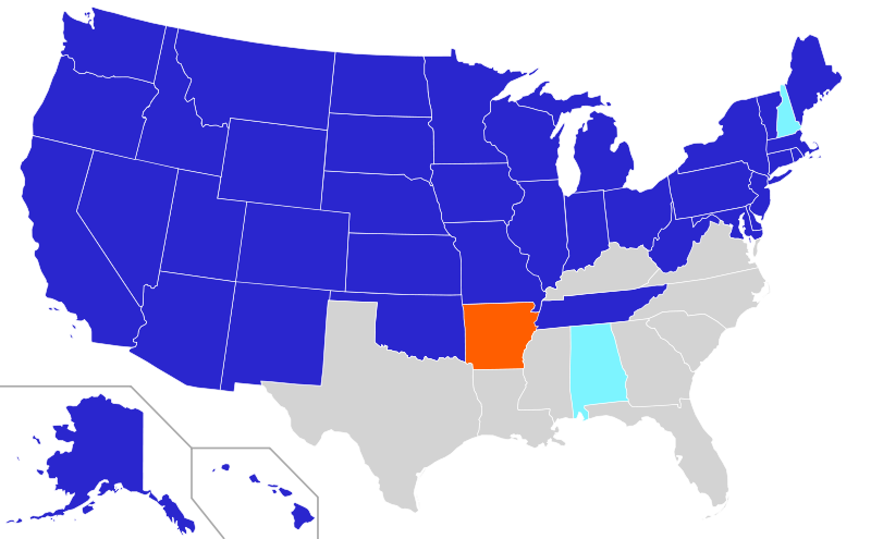 Ratification map for Amendment XXIII to Constitution of the United States
