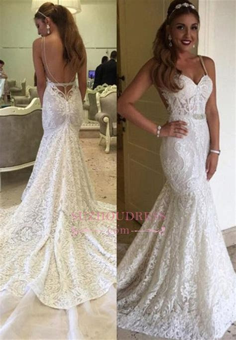 2019 Elegant Backless Mermaid Spaghetti Straps Lace