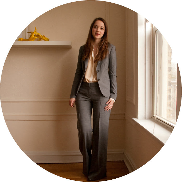 dash dot dotty, suits, how to wear, creative young professional, wear to work, gray theory suit, broadway, suit with zara shirt, silk shirt, pink and gray, pants suit