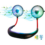 USB LED Neck Cooler Fan - Portable 2000mAh Rechargeable Hand-Free Wearable Personal Neck Fan - Colorful LED - Black