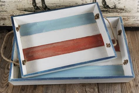 Two Piece Distressed Wood Serving Tray Set