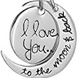 "Amazon.com: Two-Tone Sterling Silver with Yellow Gold-Plated Heart ""Mom I Love You To The Moon and Back"" Pendant Necklace, 18"": Jewelry"