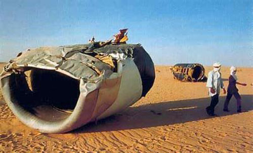 An engine from UTA772 in the Sahara