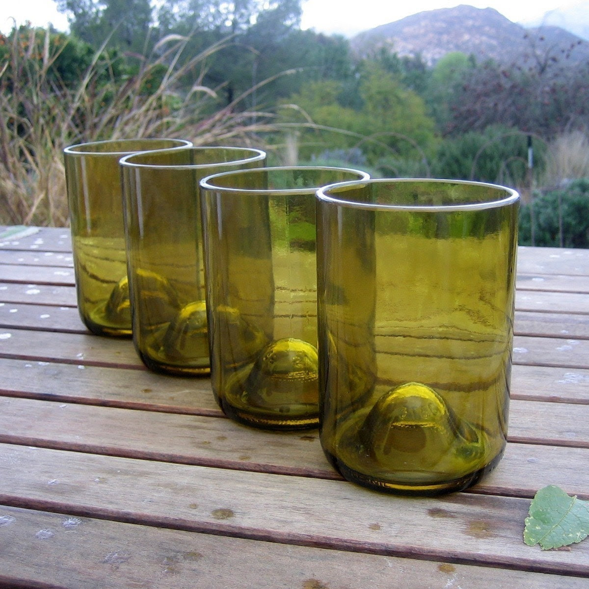 Four Upcycled Short Amber Wine Bottle Glass Tumblers - bottlehood