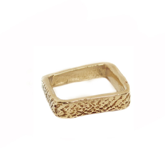 Cuttlefish Square ring - 18k Yellow gold