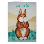 cute brown Bunny smiling with flowers valentine Greeting Card