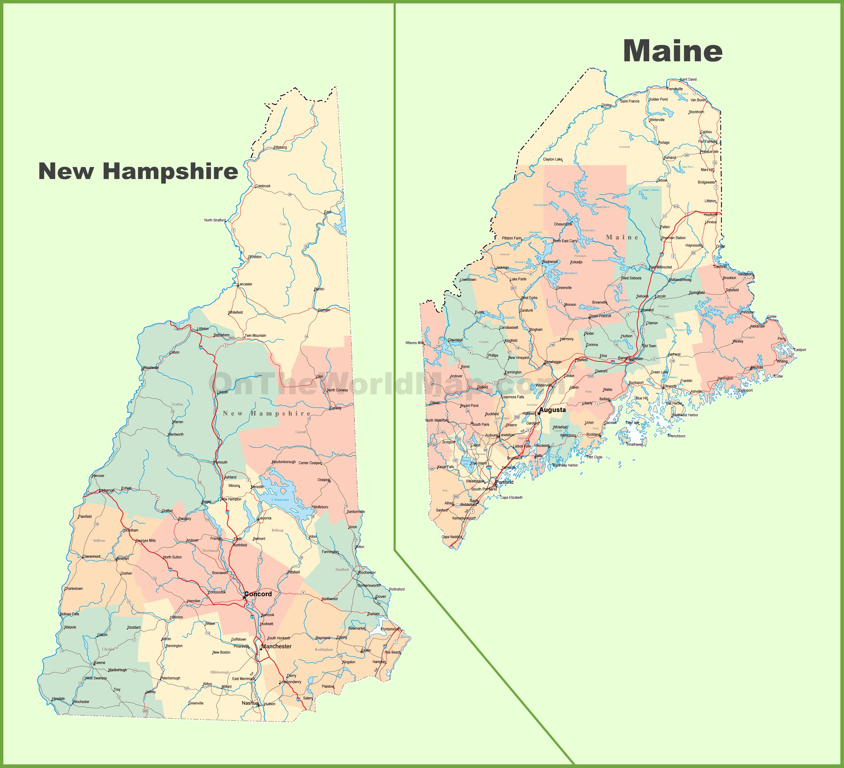 Nh Map Of Towns, Map Of New Hampshire And Maine, Nh Map Of Towns