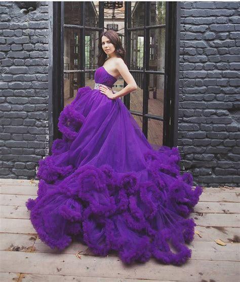 2016 Luxury Designer Purple Wedding Dress Crystal White