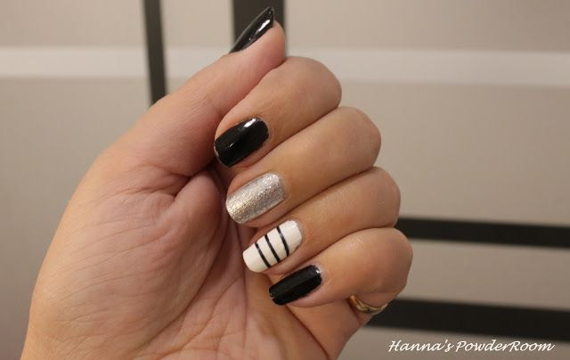 Black, white and silver nails