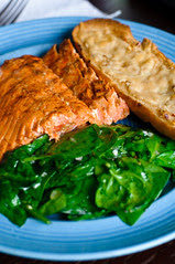 salmon, salad, and bread