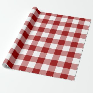 Red and White Gingham Pattern Gift Wrapping Paper