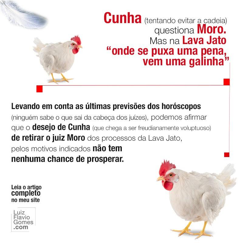 Cunha tentando evitar a cadeia questiona Moro Mas na Lava Jato onde se puxa uma pena vem uma galinha