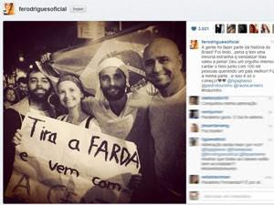 A atriz Fernanda Rodrigues e Bruno Gagliasso participam da manifestação no Rio (Foto: Reprodução/Instagram)