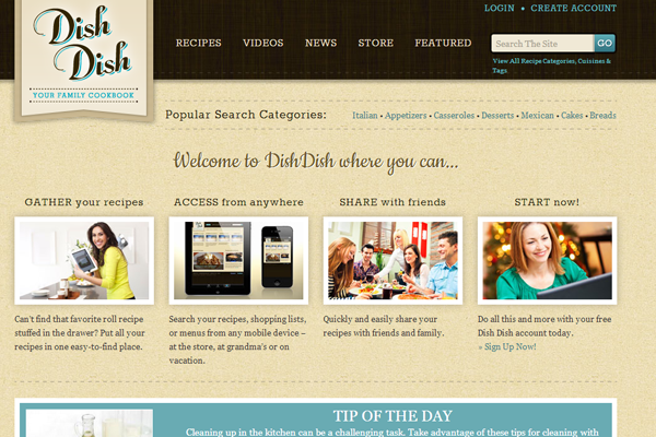 Cookbook online dish website layout retro