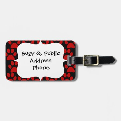 Cute Puppy Dog Paw Prints Red Black Tag For Luggage