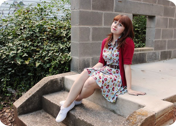 New Modcloth Dress Keds Amp A Red Cardigan