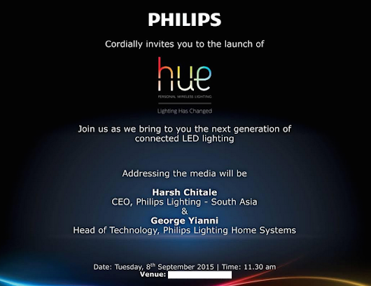 Philips is Launching Hue Smart LED Lights in India on September 8