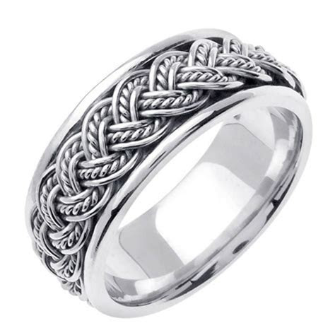 Mens Womens Solid 14K White Gold Rope Braided Comfort Fit