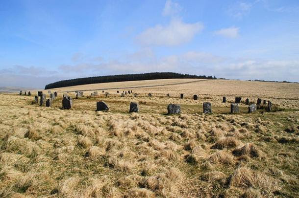 Grey Wethers - a pair of stone circles in Dartmoor. A view of both circles from the south.
