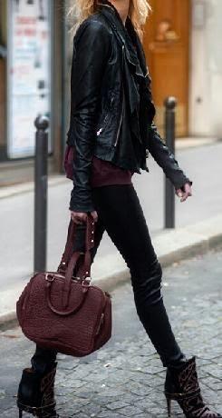 StyleTag fall fashion. Leather biker jacket.