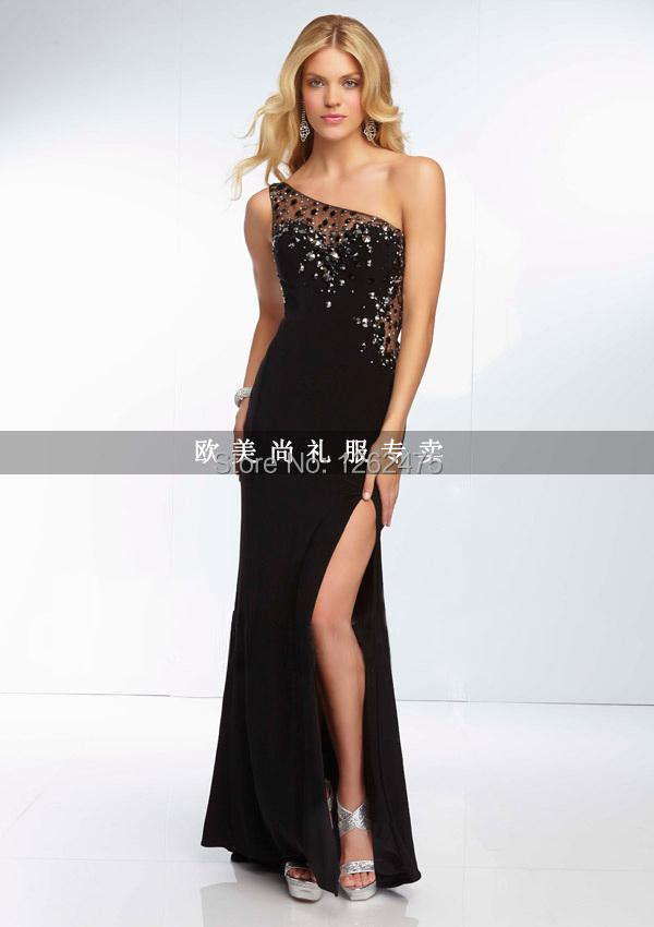 One shoulder long black evening dresses