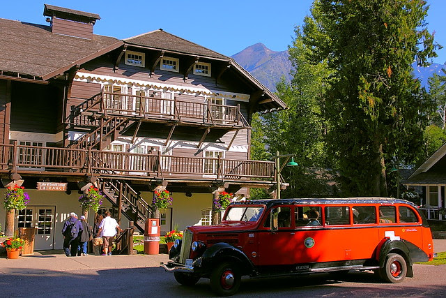 IMG_3198 Red Bus in Front of Lake McDonald Lodge, Glacier National Park
