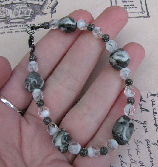 Magic Jasper Beaded Gemstone Bracelet / Black and White Greyscale Alternative Wedding Bracelet