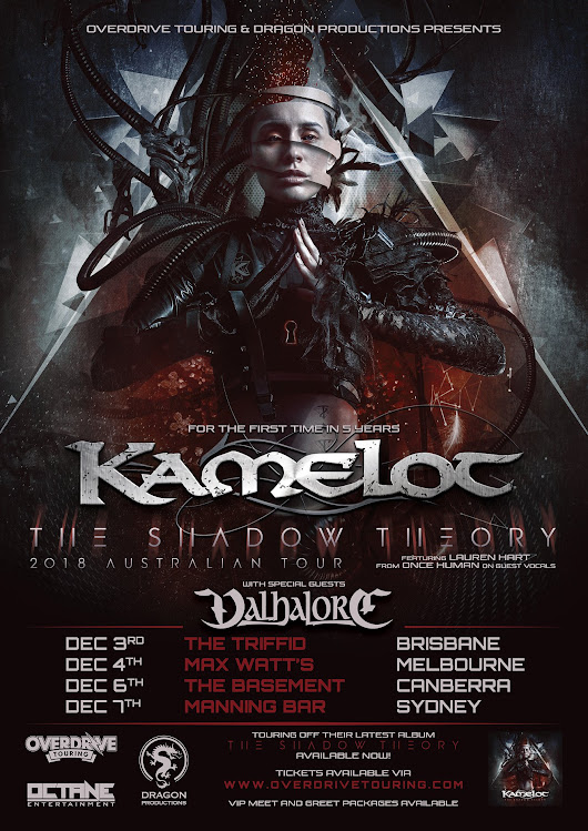 "Kamelot announce ""Shadows Over Australia Tour 2018"" with special guests Valhalore – Official Kamelot Website"