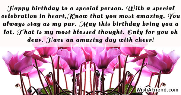 Happy Birthday To A Special Person Birthday Wish Quote