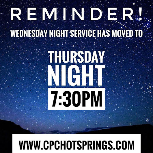 Don't forget! Midweek Service is now on Thursday Night until Pentecost Sunday. Join us for prayer at 6:45PM followed by service at 7:30PM.