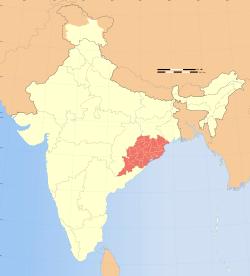 Location of Odisha in India
