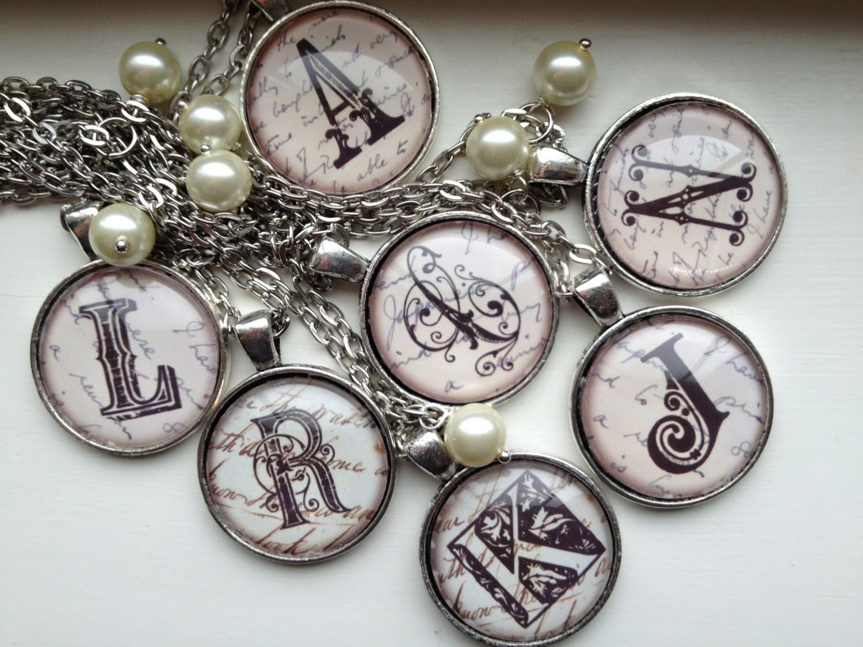 Custom Monogram Letter Glass Necklace- you pick the Letter