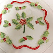 Christmas Plates and Dinnerware With Holly Wreath And Berries