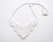 Lace Necklace - Regan in White - Bridal Jewelry - branchbound