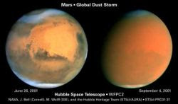 Hubble images show cloud formations (left) and the effects of a global dust storm on Mars (Credit: NASA/Hubble)