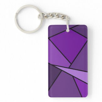 Abstract Purple Polygons Rectangle Acrylic Keychain