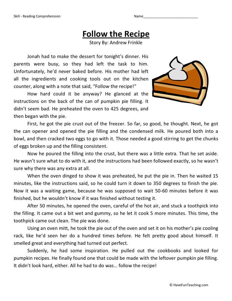Reading Prehension Worksheet Follow The Recipe