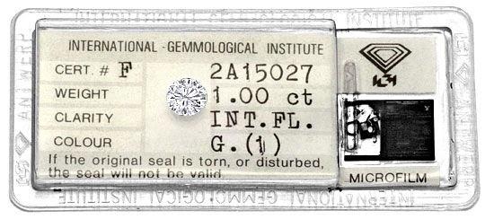 Foto 1, Diamant Einkaräter Brillant IGI Lupenrein Top Wesselton, D5180