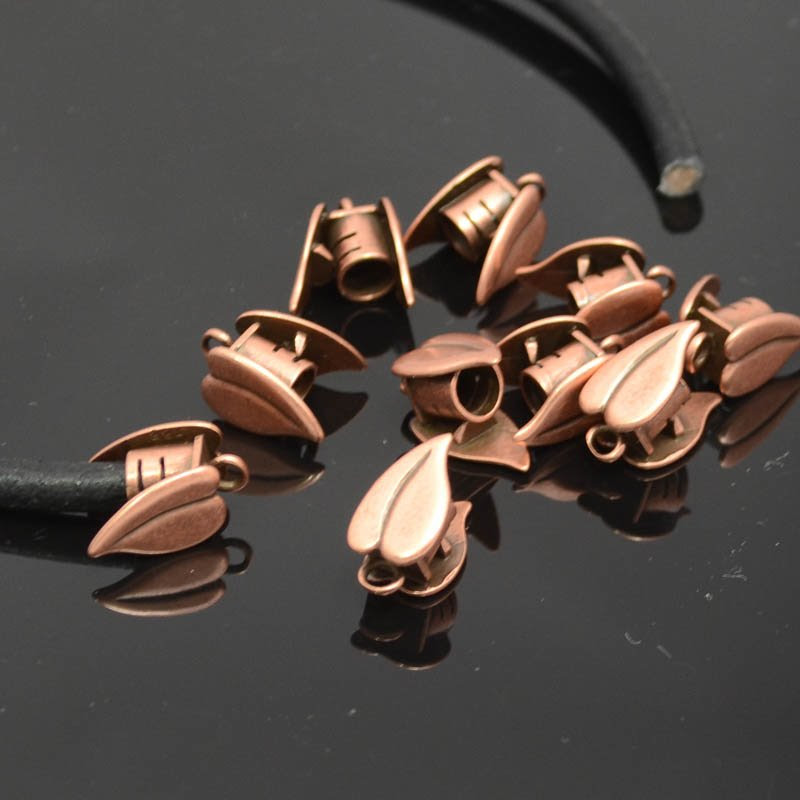 s39416 Findings - 5 mm Round Leather -  Leaf End Cup with Ring - Antiqued Copper (2)