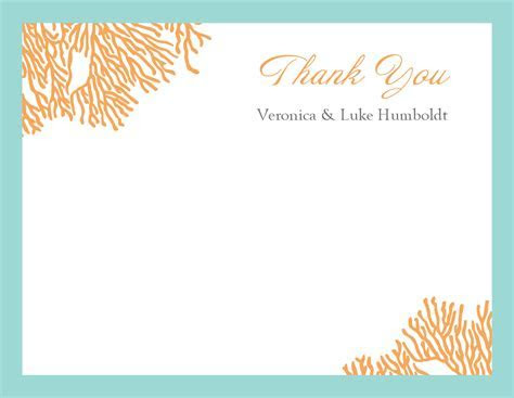Coral Thank You Card