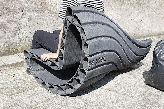 'print your city' initiative sees 3D-printed plastic bags become urban furniture