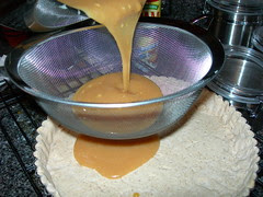 Straining the caramel