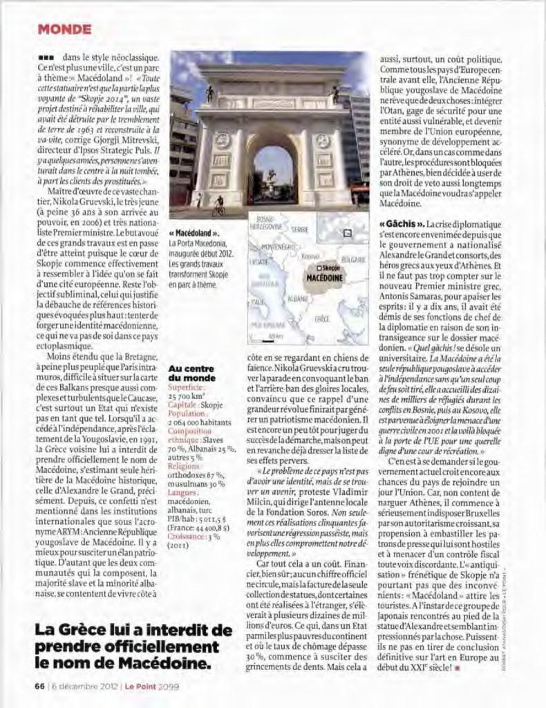 lepointmac2 790x1024 Γαλλικό Περιοδικό Le Point: Σκόπια, μια χώρα που δεν υπάρχει