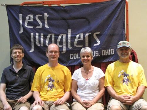 Jest Jugglers banner (Scott, Tom, Lynn, and Owen)