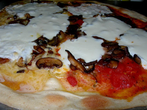 Red and White Mushroom Pizza