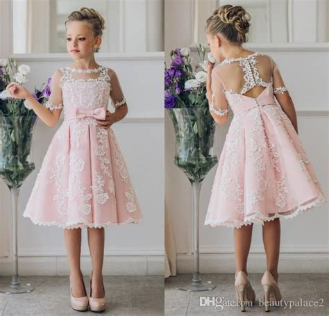 Fancy Pink Flower Girl Dress With Appliques Half Sleeves
