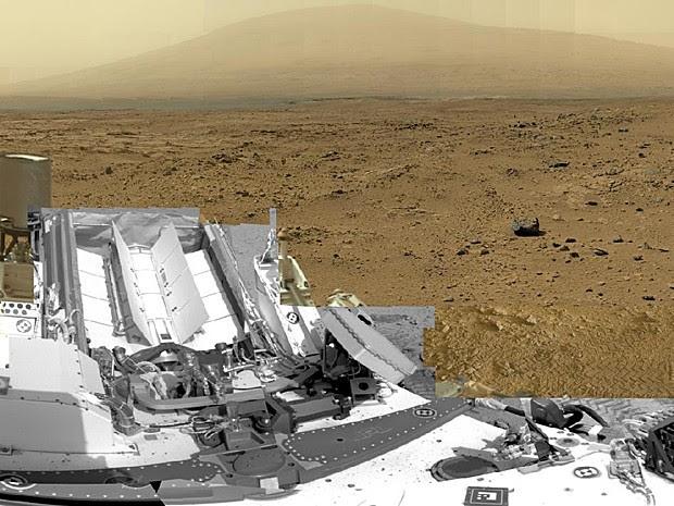 Imagem de 1 bilhão de pixels feita pelo robô Curiosity, da Nasa, mosta a superfície de Marte (Foto: Nasa/JPL-Caltech/MSSS)