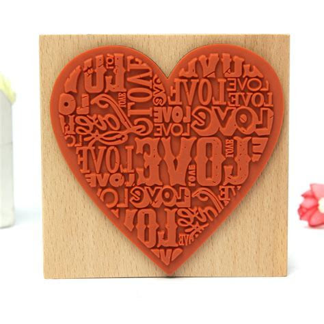 Wooden Rubber Love Heart Stamp Diary Scrapbooking Wedding