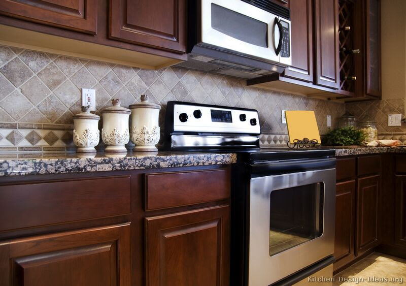 Tile Backsplash Ideas For Cherry Wood Cabinets   Home ...