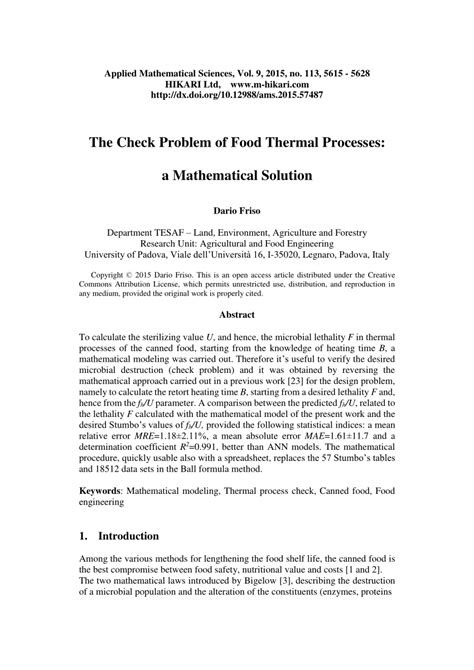 (PDF) The check problem of food thermal processes: A